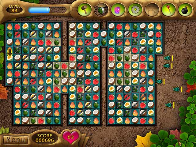 """From this page you can download Fruit Mania.Click """"Download. """" This may open a windowpane to download the full game to your PERSONAL COMPUTER.  Follow the instructions to crack Fruit Mania and play as frequently as you wish.  Survive Fruit Mania in this incredible, unique, and fun Match 3 game!  Survive Fruit Mania in this incredible, unique, and fun Match 3 game! Stop the bugs from eating your fruit by clearing the level and using terrific traps that you unlock by matching the different fruits. With countless levels and challenging gameplay, Fruit Mania is sure to keep you entertained for hours. Grow different trees to earn powerful new weapons like the Blade and Smart Bomb. Can you destroy the bugs and survive?"""