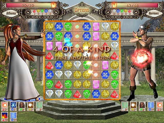 This is a great match three against an enemy game. Graphics are great and even the music is tolerable. Plenty of upgrades and spells are earned and it actually may take you more than once to beat an enemy so there is some challenge. My only beef is that once you hit the game board screen everything seems to slow down. Now, this just may be my computer but it's almost like you are watching it in slow motion. The game board drops very slowly and the graphics even are kinda sluggish. But, it's not enough to keep me from playing. Give it a try and you may like it. I found everything about this game to be excellent! Slow? Not on my computer! Love the turn based challenge and that one got the wonderful opportunity to actually look at the gods minions. Great art. Now if one could set them as screen savers as a reward for winning the challenge... Even left the music on without realizing it! I usually can't stand it for even 1 min. let alone 1 hour. Turn based allowed me to make the BEST move, not just any move. No timer ment I could check if I needed healing 1st. or if I needed to collect a certain color gem, or attack. Maybe my opponent was almost defeated. No gems needed, just attack. Wonderful challenges got harder and harder.